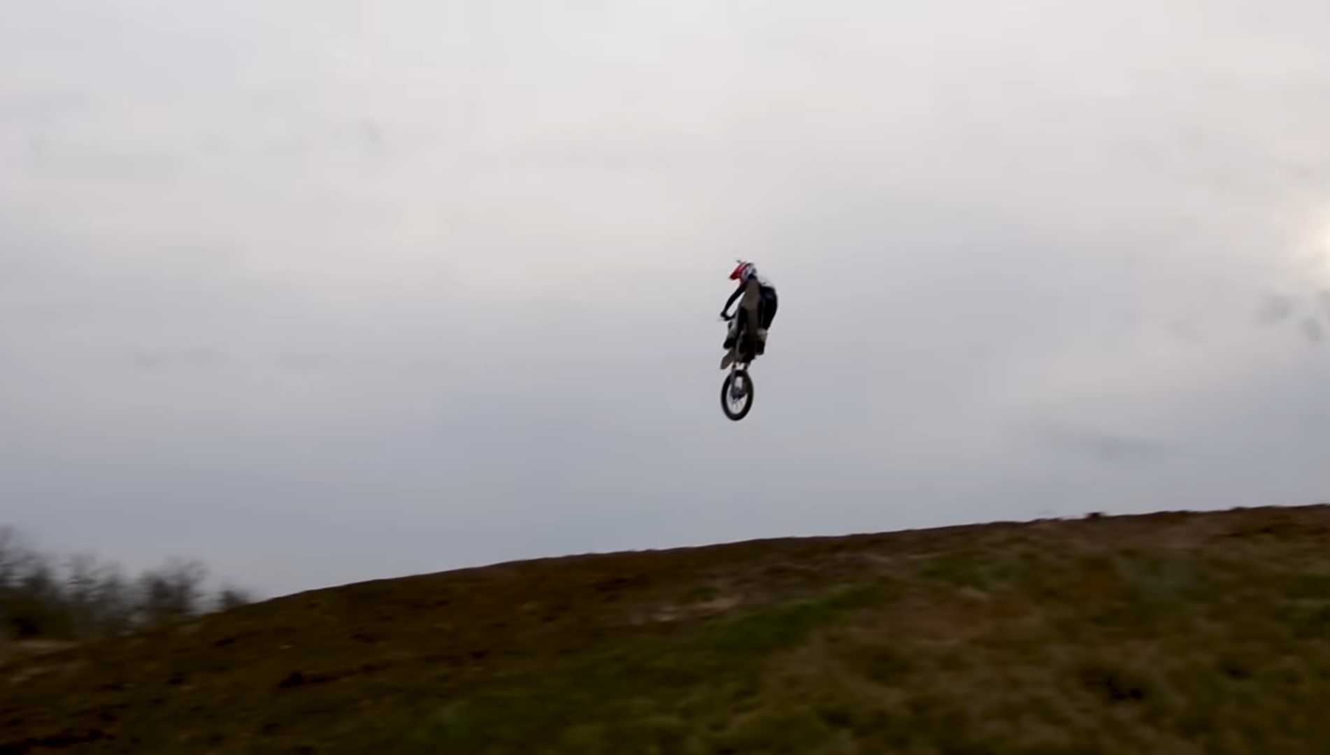 control dirt bike in the air